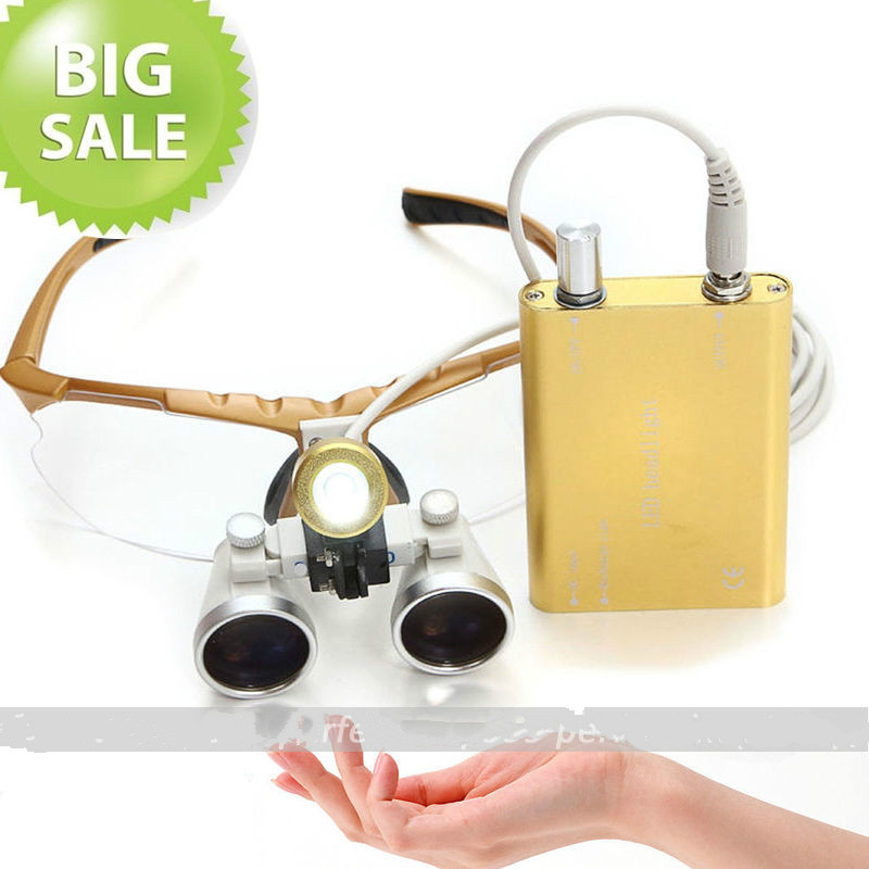ФОТО  Big Discount !!! NEW Yellow Dentist Dental Surgical loupes 3.5X 320mm + LED Head Light Lamp