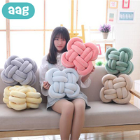 AAG Creative Knotted Pillow Newborn Baby Bed Bumper Pure Weaving Plush Knot Crib Bumper Nursery Cushion Plush Dolls Room Decor
