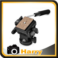 Professional Fluid Drag Tilt Pan Damping Head Video DSLR Camera Tripod Head with Handle Two Quick Release Plates
