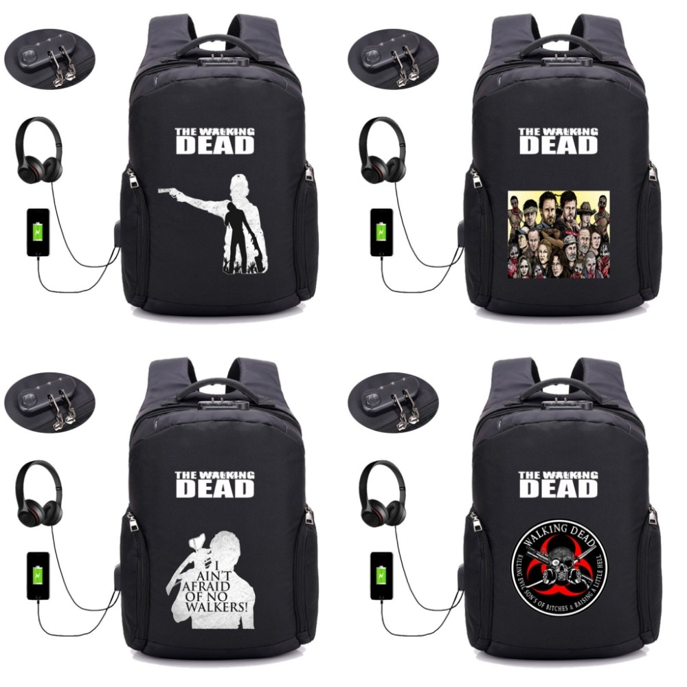 TV The Walking Dead backpack Anti-theft USB Charging Travel Laptop Backpack Teenager Men Waterproof School Bag Backpack 16 style youlunshidai multifunction anti theft 16inch laptop usb charging backpack bag for teenager men and wome fashion travel backpack