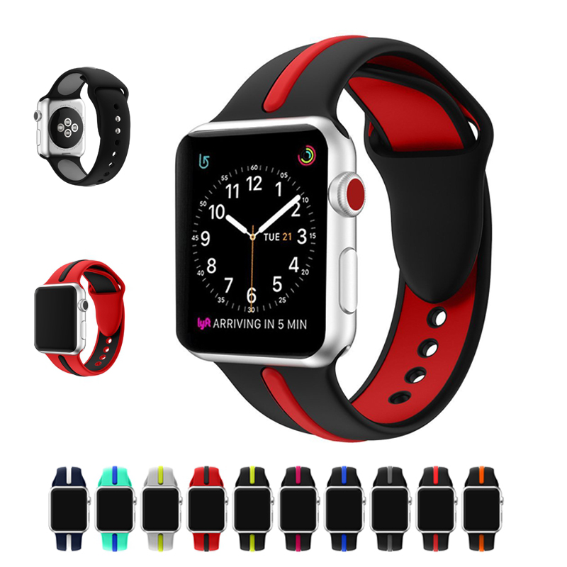 Sport Strap for Apple Watch Band 42mm 38mm Soft Silicone Watchband Replacement Strap for iWatch Bands Series 1 2 38mm 42mm soft silicone sport strap for apple watch series 1 2 light flexible breathable replacement band watch strap for iwatch