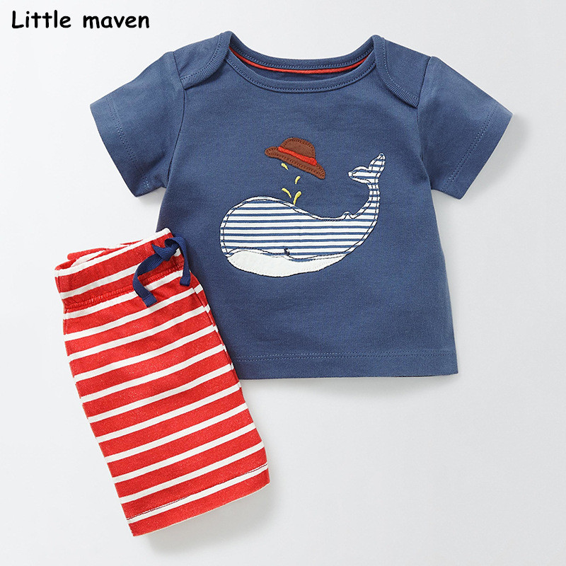 Little maven brand children 2018 new summer baby boy clothes cotton children's sets whale applique t shirt + striped pants 20215 striped tape applique velvet pants