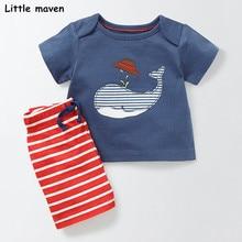 Küçük maven marka çocuk 2018 yaz bebek erkek giysileri pamuk çocuk setleri balina aplike t shirt + çizgili pantolon 20215