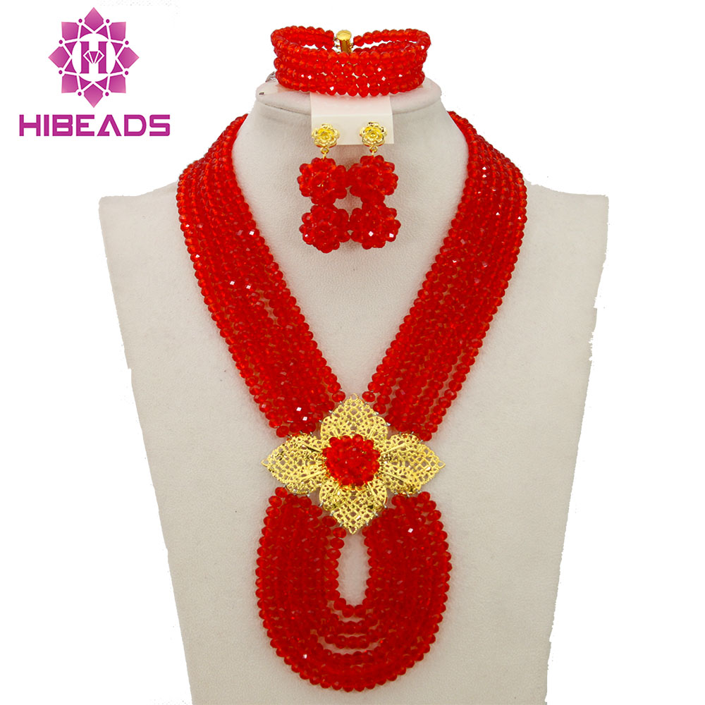 Hot New Bridal Jewelry Sets Red Nigerian Wedding African Beads Jewelry Set Crystal Fashion Gift Necklace Free Shipping ABJ880