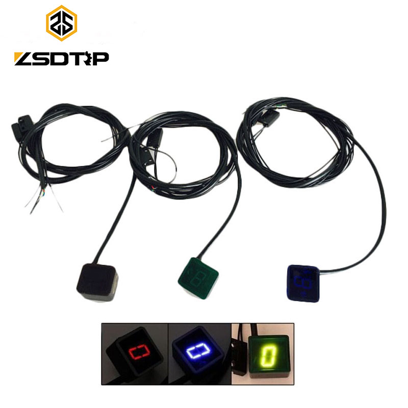 цена ZSDTRP Motorcycle Gear Display Digital LED Gear Indicator Red/Blue/Black Light Neutral Shift Lever Sensor Motocycle Accessories