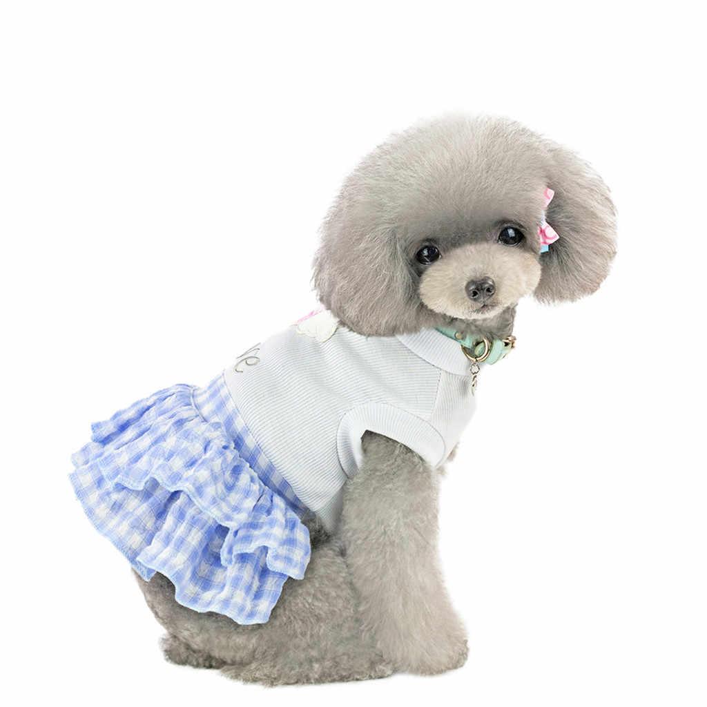 Mignon doux Pet chiot chien vêtements Plaid court princesse jupe haut avec amour coeur motif chien robes Ropa Perro disfraz para perr