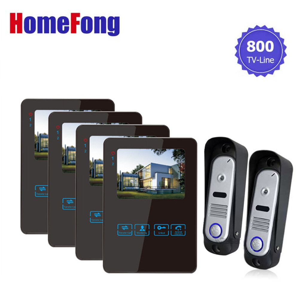 Homefong Video Intercom 4 TFT LCD Video Doorbell Phone 2 Camera 4 Monitors View from Outside Unit Snapshot stream video homefong security 4 tft lcd screen night vision video door phone intercom doorbell kit hd 800tvl 2 indoor unit 2 outdoor unit