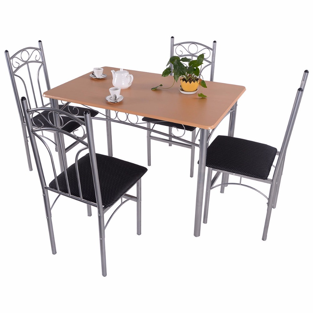 Goplus 5PCS Dining Room Set Wood And Metal Dining Table + 4 Dining Chairs Stylish Home Kitchen Modern Furniture HW52158