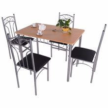 Goplus 5PCS Dining Room Set Wood And Metal Dining Table + 4 Dining Chairs Stylish Home Kitchen Modern Furniture HW52158(China)