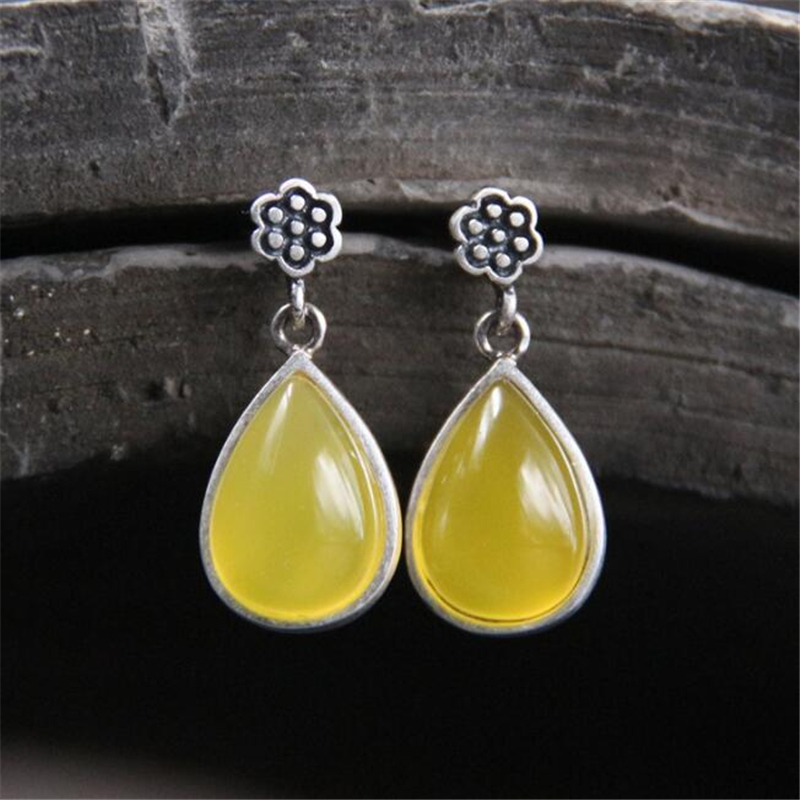 11mm Waterdrop Simulated Beeswax Earrings For Women Antique 925 Sterling Silver Seedpod Of The Lotus Fashion Jewelry Party Gift