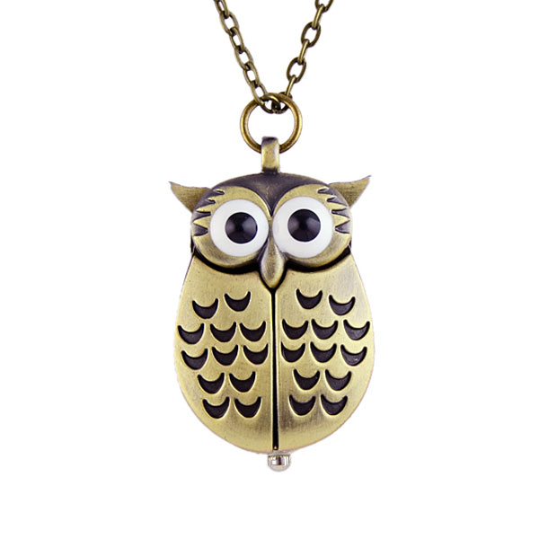 New Cute Style Retro Unisex Vintage Bronze Slide Smart Owl Pendant Antique Necklace Pocket Watch Gift High Quality