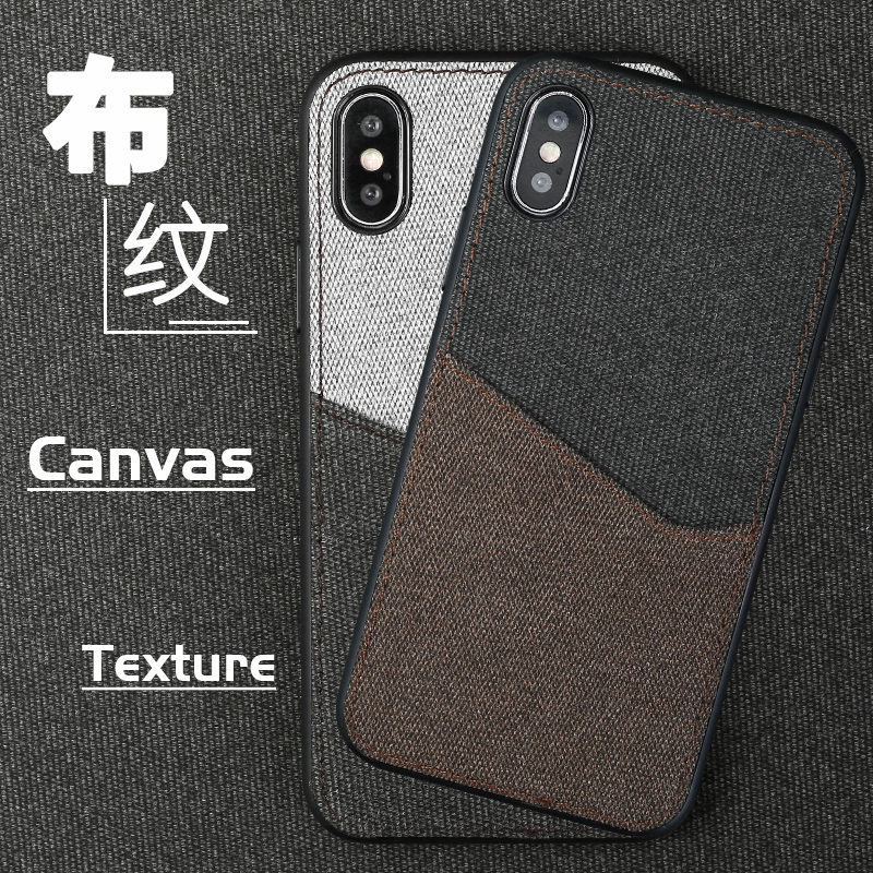 Canvas Phone Case For iPhone X 10 5 5SE 6 6S 7 8 Plus Soft TPU Edge Color Stitching Card Slot Design Waterproof Back Cover