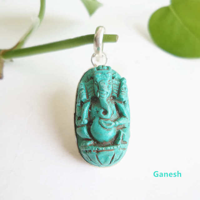 Tbp690 tibetan clay sculpture amulets ganesh pendants turkey stone tbp690 tibetan clay sculpture amulets ganesh pendants turkey stone color aqua aloadofball Image collections