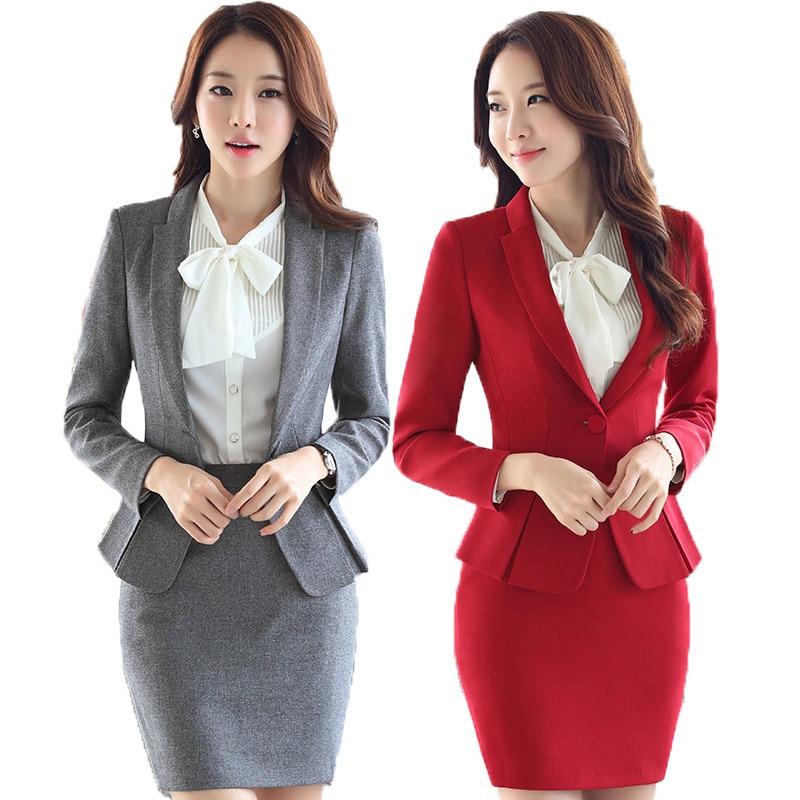 Fmasuth Autumn Office Formal Skirt Suit Full Sleeve OL Blazer Jacket Skirt 2 Pieces Business Suits