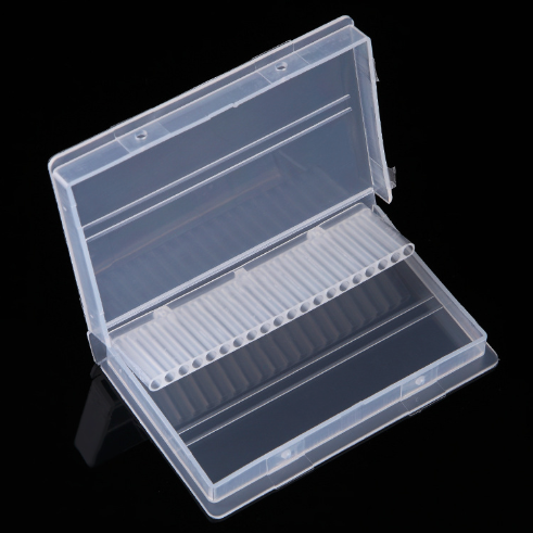 Clear Plastic Nail Drill Bits Storage Box Stand Display 20 Slots 14 Slots Organizer Case Container Professional Manicure Tools