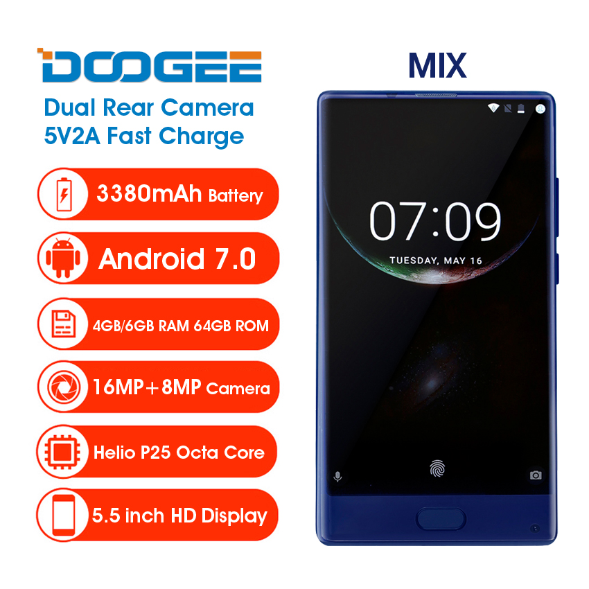 "Onsale Doogee Mix Mobile Phone 5.5"" Helio P25 Octa Core 4GB/6GB+64GB Dual Rear Camera 16MP Front Fingerprint 3380mA Smartphone"