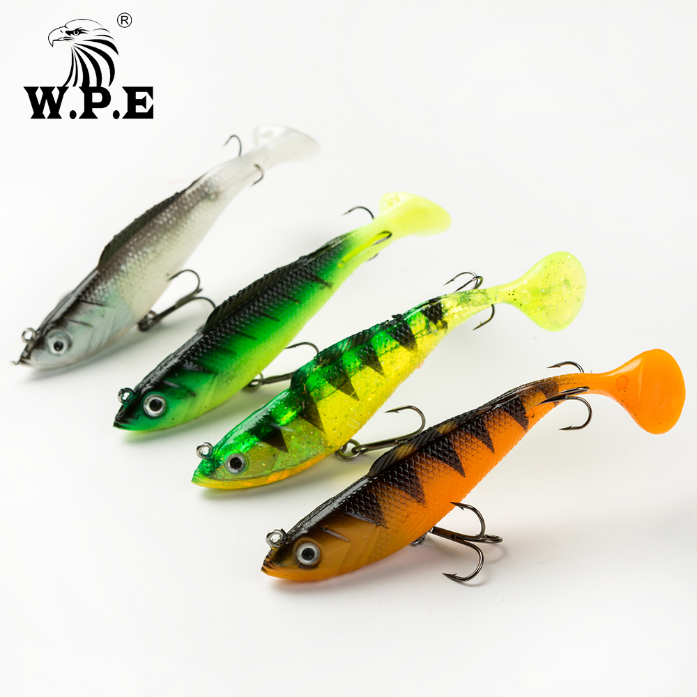 W.P.E Brand Lead Head Fishing Lure 8cm/10cm/12cm/14cm Soft 1Pcs 17g-42g Jig Swimbait Treble Hook Tackle