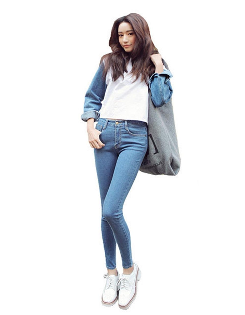 ФОТО Fashion Slim Jeans For Women Skinny High Waist Jeans Woman Blue Denim Pencil Pants Stretch Waist Women Jeans