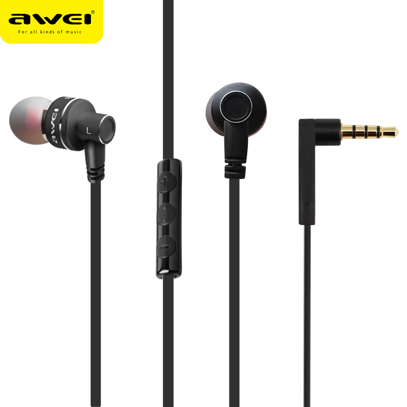 Awei Wired In Ear Headphone In-Ear Earphone For Phone iPhone Samsung Head Headset Earbud Earpiece Sluchatka Kulakl K Auriculares awei headset headphone in ear earphone for your in ear phone bud iphone samsung player smartphone earpiece earbud microphone mic page 7