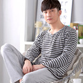 2016 High Quality Spring Autumn Long Sleeve Sleepwear Cotton Pyjamas Men Lounge Stripe Pajama Sets Plus size A9026