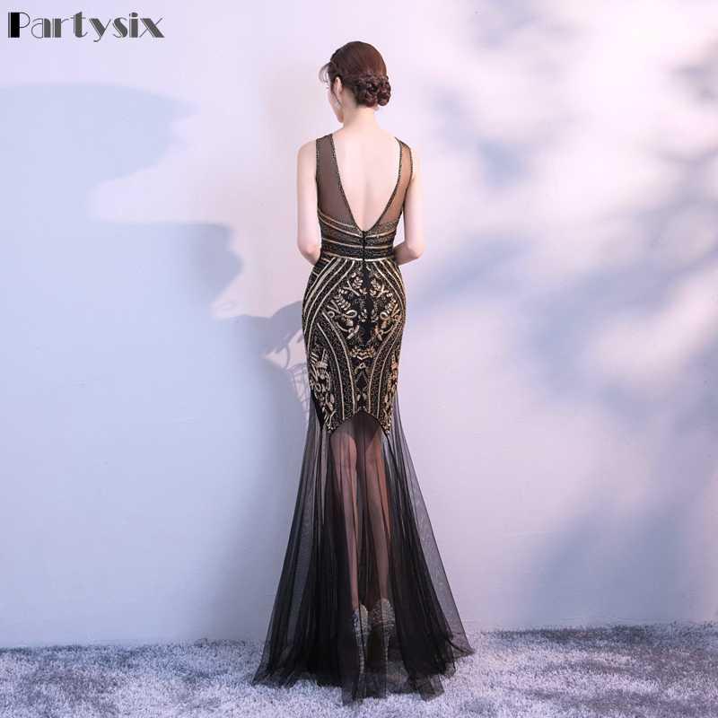 Вечерние шесть женский, Черный блестками Вечерние Длинное облегающее платье сексуальное бусины Макси платье