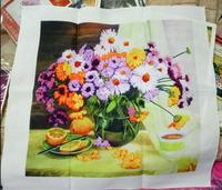 Chinese Needlework DIY Ribbon Cross Stitch Sets For Embroidery Kit Lemon Vase Flowers Bands Embroidery Wall
