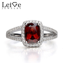 Leige Jewelry Garnet Ring Silver 925 Fine Jewelry Cushion Cut Red Gemstone Rings for Women January birthstone Valentine Gift