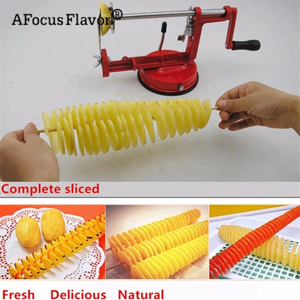 1 Pc Potato Twister Potato Slicer Stainless Steel Kitchen Accessories Tornado Slicer Manual Cutter Spiral Chips 3