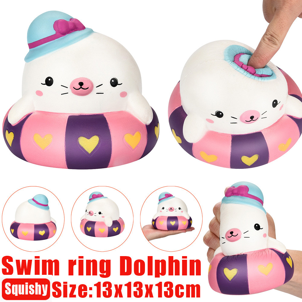 13cm Squishy Swim Ring Dolphin Scented Slow Rising Squeeze Stress Reliever Toy Stretchy Squeeze Toy Cream @15
