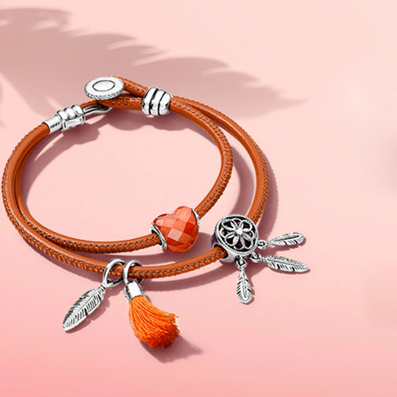 DERMSPE 2018 New S925 Silver DDreamcatcher Colorful Beaded Match Set Orange Double Circle Retro Leather Rope Set DIY Gift retro circle