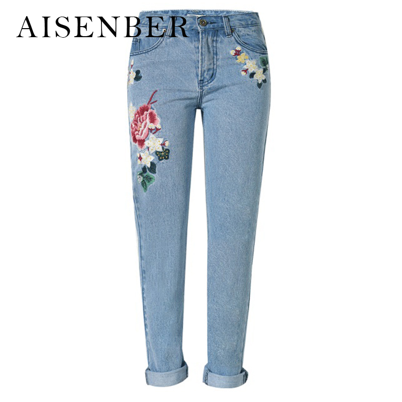 AISENBER Embroidery Jeans Women Brand Middle Waist Straight Denim Jeans for Women Large Size Jeans with Rose Flowers Pattern