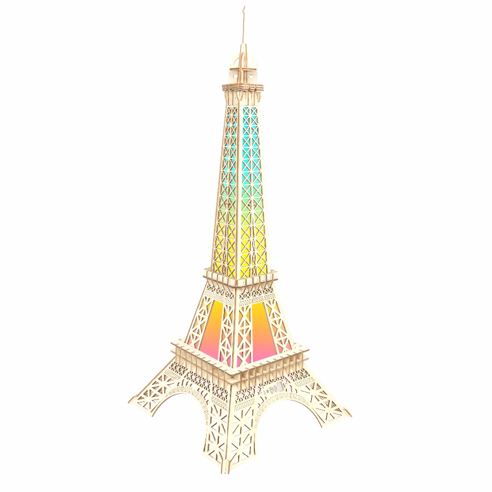 Eiffel Tower atmosphere night light Kids toys 3D Puzzle wooden toys Wooden Puzzle Educational toys for Children verrypuzzle clover octahedron magic cube speed twisty puzzle cubes game educational toys for kids children