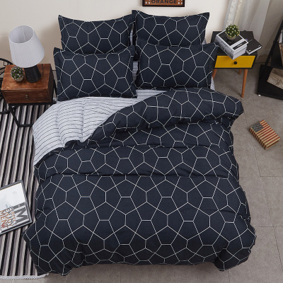 New Plaid Men Bedding Sets 3 4pcs Geometric Pattern Bed Linings Duvet Cover Bed Sheet Pillowcases