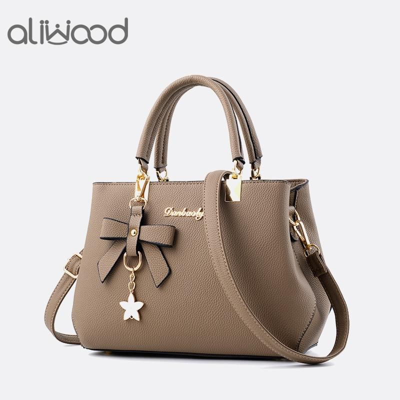 Aliwood Fashion Women's Bags Leather Handbag Sweet Elegant Designer Lady Crossbody Bags Tote Female Shoulder Bag with Bow tie