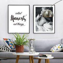 Black White Yak Animal Girl Quote Canvas Art Posters Canvas Prints Nordic Painting Wall Pictures for Living Room Home Decor black white zebra quote landscape wall art canvas painting nordic posters and prints animals wall pictures for living room decor