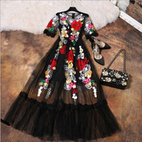 Luxury Dress New 2016 Summer Fashion Runway Brand Elegant Flower Embroidery With Sling Black Mesh Slim