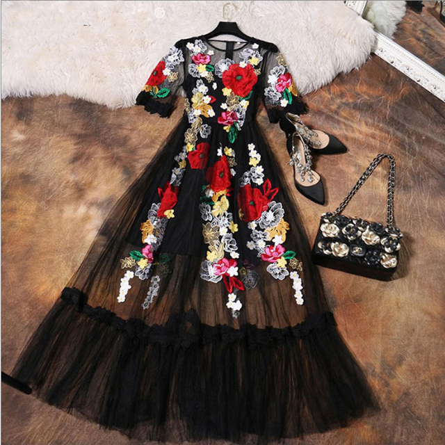 fe717b8d64 Luxury Dress New 2017 Summer Fashion Designer New Elegant Flower Embroidery  Appliques Black Mesh Slim Women