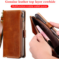 Multi functional Zipper Genuine Leather Case For Xiaomi redmi note 7 Wallet Stand Holder Silicone Protect Phone Bag Cover