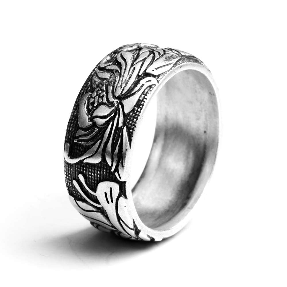 S990 Sterling Silver Ring Vintage Style Rings For Women With Lotus Design Fine Jewelry Bague Femme anel feminino