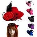 6 pçs/lote Ladys Mini Feather Rose Top Hat Cap Lace fascinator Grampo de Cabelo Traje Acessório Y106