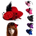 6 unids/lote Ladys Mini Pluma de Rose Casquillo Del Sombrero Superior Del Cordón el fascinator Del Pelo Clip Costume Accessory Y106