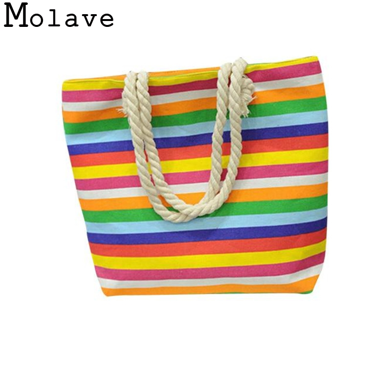 Design Print Striped Canvas Handbag Girls Shoulder Bag Ladies Portable Shopping Tote Book Bag Jan3