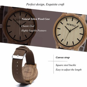 Image 4 - BEWELL Fashion & Casual Mens Wood Watches with Fabric Band Water Resistant Wrist Watch with Box 134A