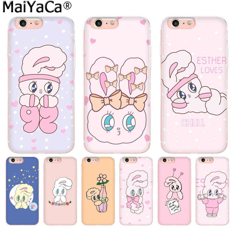 MaiYaCa Pink Korean chuu esther kim rabbit Cute Phone Accessories Case for Apple iphone 11 pro 8 7 66S Plus X 5S SE XR XS XS MAX