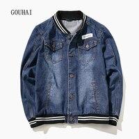 M 7XL 2017 Autumn Winter Denim Jacket Mens Bomber Jackets Fashion Solid Baseball Outwear Male Cowboy