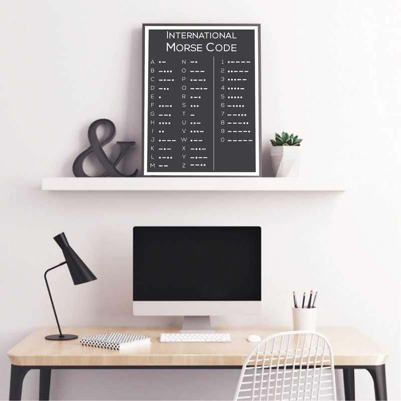 Código Morse cartel y moderna impresión minimalista cuadro sobre lienzo para pared negro imagen en blanco para la sala de Decoración de casa