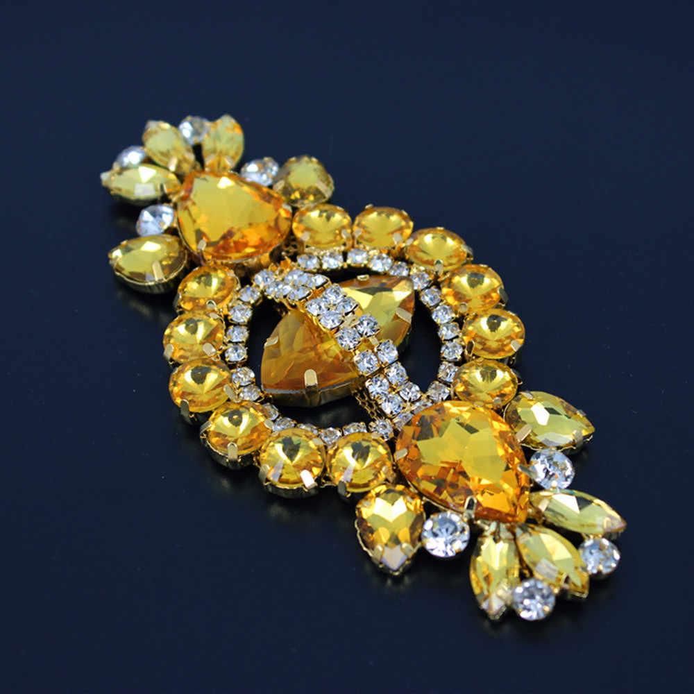 """12*5.8 ס""""מ זכוכית + גביש צהוב שרף רויאל applique כלה חגורת אבנט החתונה Applique לתפור יהלומים מלאכותיים בסיס זהב על חגורת ציצית"""