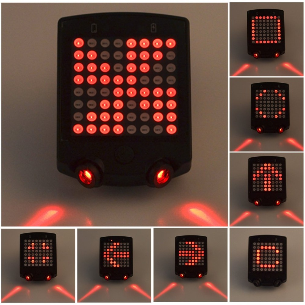 ABS inalámbrico Bicicletas laser luz trasera señal de vuelta de la bici Control remoto Seguridad LED advertencia luz trasera USB recargable luz trasera