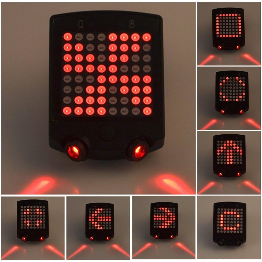 ABS sem fio Bicicleta Luz Da Cauda Do Laser Bicicleta Turn Signal LED de Aviso de Segurança De Controle Remoto Recarregável USB Luz Traseira do Farolim Traseiro