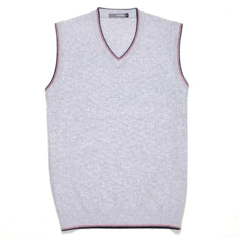 2016 New Men s Pullover Sweater Fashion Solid color Vest V Neck Cotton Knitted Business Slim
